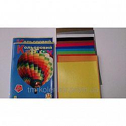 Картон цветной А4 12 листов,яркие цвета Коленкор