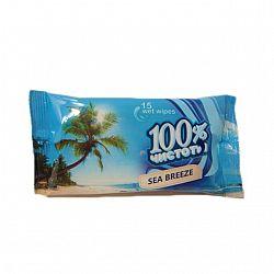 Влажные салфетки  100% чистоты Море15шт