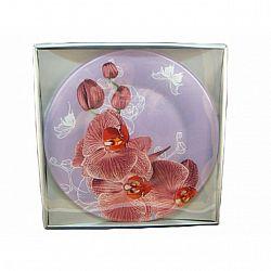 R035 Блюдо стекло круглое d.30 Орхидея сиреневая