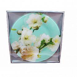 R067 Блюдо стекло круглое d.30 Яблоня бирюзовая