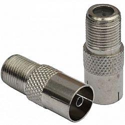 Переходник ТВгнездо -Fгнездо металл
