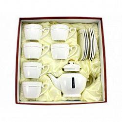 PT 0442-А Сервиз 13-пр.чайный (6чашек квадрат 280мл + 6 блюдец+заварник 850 мл) Снежная королева