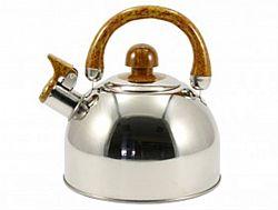 Чайник нерж. со свист.2,0л ZB-001(коричневая ручка)
