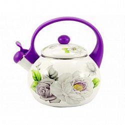 Чайник 2.2л эмалированный со свистком Zauberg  Фиолетовая роза  2LG