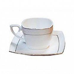 507006-A Чашка кофейная квадратная фарфор.90мл с блюдцем в запайке Снежная королева Хит цена!!!
