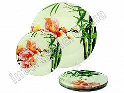 S 074 Набор для торта стекло 7пр. Орхидея PINK