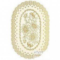 Клеенка на стол ажурная золото односторонняя овальная 30*40см