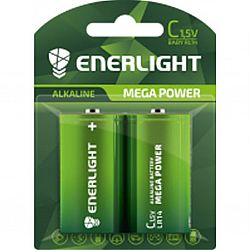 Батарейка ENERLIGHT MEGA POWER R14 щелочные 2шт блистер