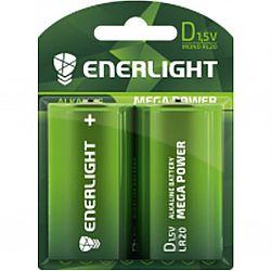 Батарейка ENERLIGHT MEGA POWER R20 щелочные 2шт блистер