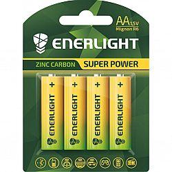 Батарейка ENERLIGHT SUPER POWER R6 солевые 4шт блистер