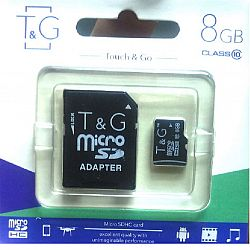 Карта памяти к телефону micro SDHC T&G,8GB class 10(с адаптером). гарантия 1год