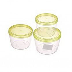 Набор контейнеров пищевых круглые TWIST 3 пр (0,6л+0,88л+1,18л) зеленый