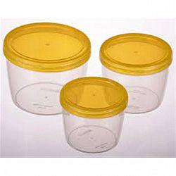 Набор контейнеров пищевых круглые TWIST 3 пр ( 0,25л+0,37л +0,6л) желтый
