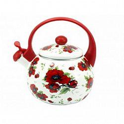 Чайник 2.2л эмалированный со свистком Zauberg Красные маки 9L