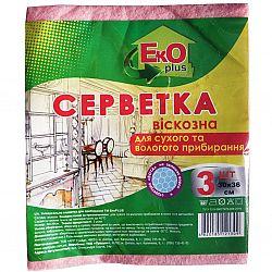 EkO plus Салфетка вискозная 3-х штучная
