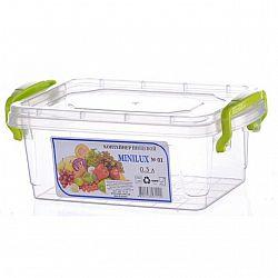 Контейнер пищевой прямоугольный с защелками Mini-Lux 0,3л