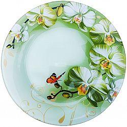 R021-2 Блюдо стекло круглое d.30 Орхидея White