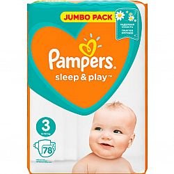 PAMPERS Дит. підгуз. Sleep & Play Midi (6-10 кг) Упаковка 78
