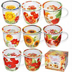 """Чашка керамика заварочная """"Цветы"""" в подарочной упаковке 300мл"""