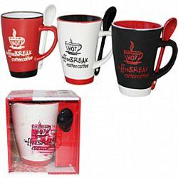 """Чашка с ложкой керамика """"Сoffee break"""" в подар.упаковке 250мл"""