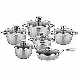 Набор посуды 12 пр (сковородка мрамор. керамика d-24+ковш1,5л +4 кастр.1,5л-2,0л-3,0л-5,0л) MK-VS8512A