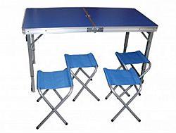 Набор для пикника усиленный 5пр(стол+4стула) раскладной чемодан,цвет-синий