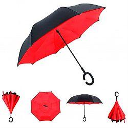 122 Женский обратный ветрозащитный зонт 2слойный черно-цветной рисунок , 8 спиц