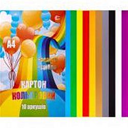 Картон цветной двухсторонний А4 7л., яркие цвета  Мандарин