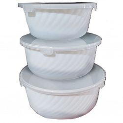 WHITE Набор салатников с крышкой в коробке 3пр.(0,7-1,2-2,0л)