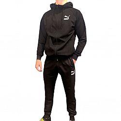 103 Костюм мужской adidas с полосками ЧЕРНЫЙ с капюшеном (S.M.L.XL.2XL) (5шт в ростовке)