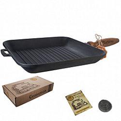 Сковородка чугунная-гриль литая без крышки и деревянной ручкой 28*4см