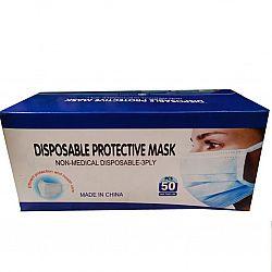 Маска для лица с зажимом для носа голубая 50штук Н