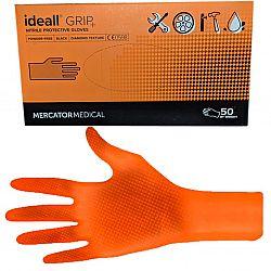 Перчатки нитриловые Grip оранжевые L (25пар)