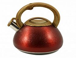 Чайник нерж. со свист.3,0л ZB-10/3 RED(коричн. ручка,литой)