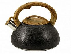 Чайник нерж. со свист.3,0л ZB-11/3 BLACK(коричн. ручка,литой)