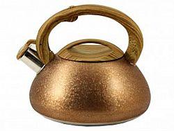 Чайник нерж. со свист.3,0л ZB-9/3 GOLD(коричн. ручка,литой)