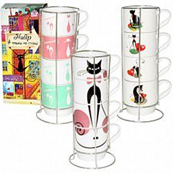 """Сервиз чайный """"Изящные коты""""(4 чашки 340мл ) на метал подставке"""