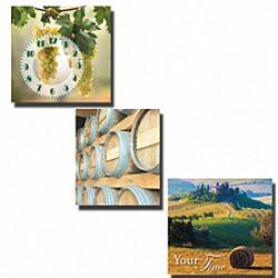 Часы настенные на холсте 3 секционные Солнечная Тоскана 3*30*30см