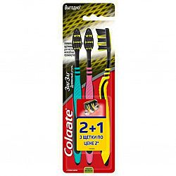 Зубная щетка  Colgate Zig Zag древесный уголь 2+1