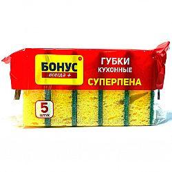 Бонус Губка кухонная крупнопористая Суперпена 5 шт