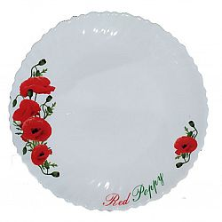 Тарелка стеклокерамика Красные маки Wave обеденная 22см Vittora