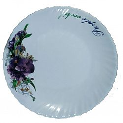Тарелка стеклокерамика Фиалки Wave десертная 19см Vittora