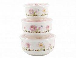 НН3 Набор салатников керамика с крышкой в коробке 3пр.(0,3л-0,45-1л) Яркий букет