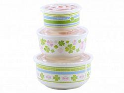 НН5 Набор салатников керамика с крышкой в коробке 3пр.(0,3л-0,45-1л) Клевер