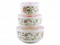 НН15 Набор салатников керамика с крышкой в коробке 3пр (0,3л-0,45-1л) Весенний букет