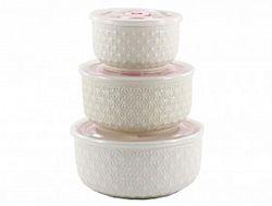 НН16 Набор салатников керамика с крышкой в коробке 3пр (0,3л-0,45-1л) Белый узор