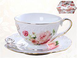 """Чашка с блюдцем фарфор """"Бант"""" в подарочной уп. 240мл"""