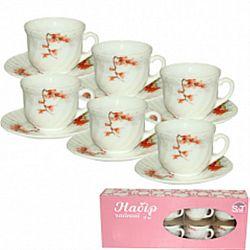 """Сервиз чайный стеклокерамика""""Айва оранж""""(6 чашек 190мл+6 блюдец 14см ) в коробке"""