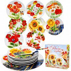 """Набор для торта 8пр керамика(тортовница 27см+лопатка+6 тарелок 18см) """"Цветы микс"""""""
