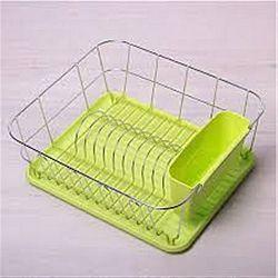 0763А Сушилка для посуды одноярусная нерж.сталь с поддоном(зеленая) 37*33*13,5см